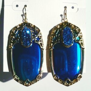 Kendra Scott Deva Iridescent Black/Blue Drusy Earr